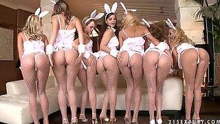 Семеро красоток в эротическом белье позируют перед камерой