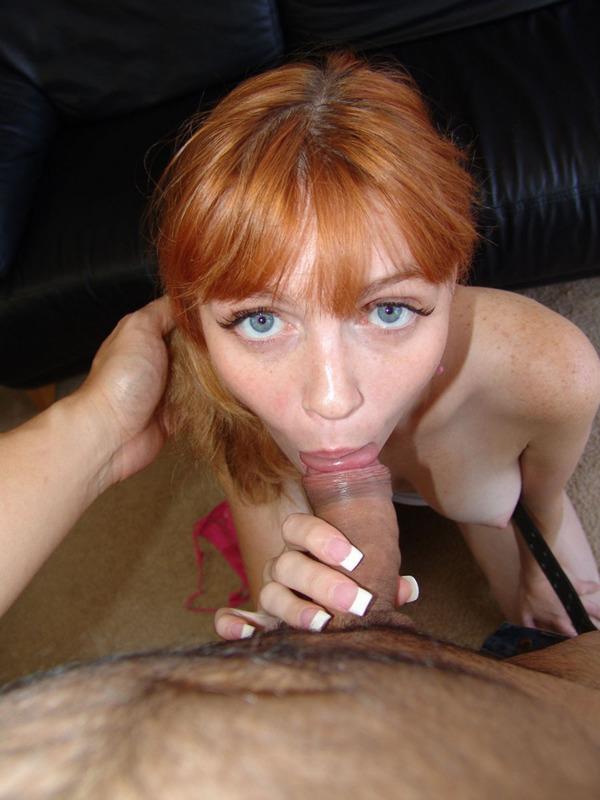 Рыжеволосая сожительница  получает сперму на лицо после минета секс фото