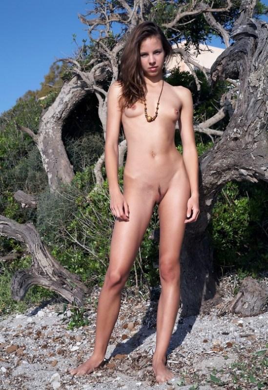 Голенькая прелестница стоит у засохшего дерева