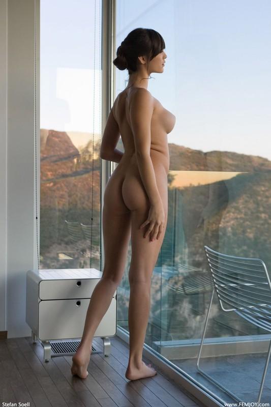 Холли наслаждается видом из окошка сидя на тумбе