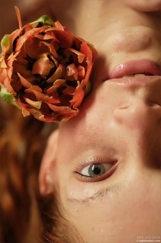 Три цветка лежат на обнаженной красавице