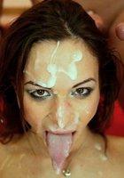 Сперма на лице девушек порно фото