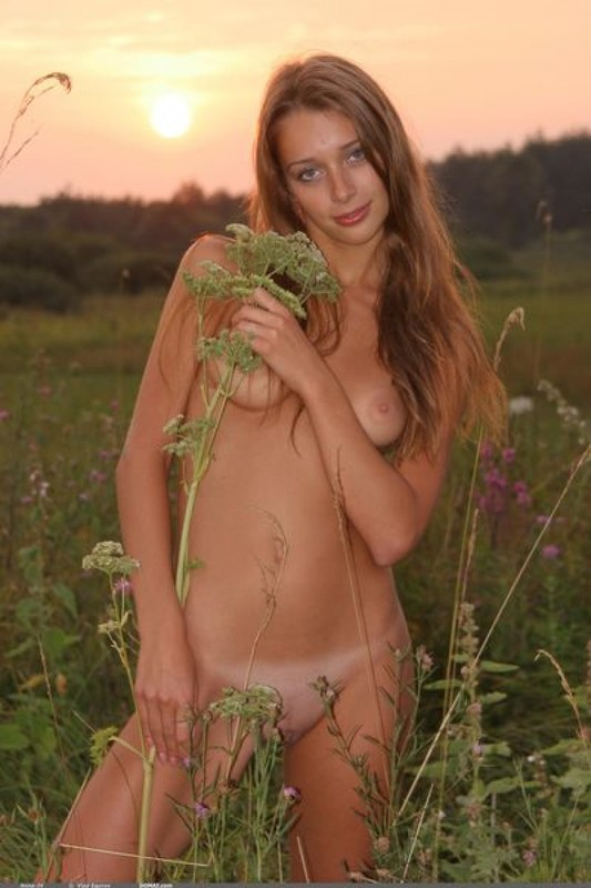 Обнаженная Анна встречает закат в поле смотреть эротику