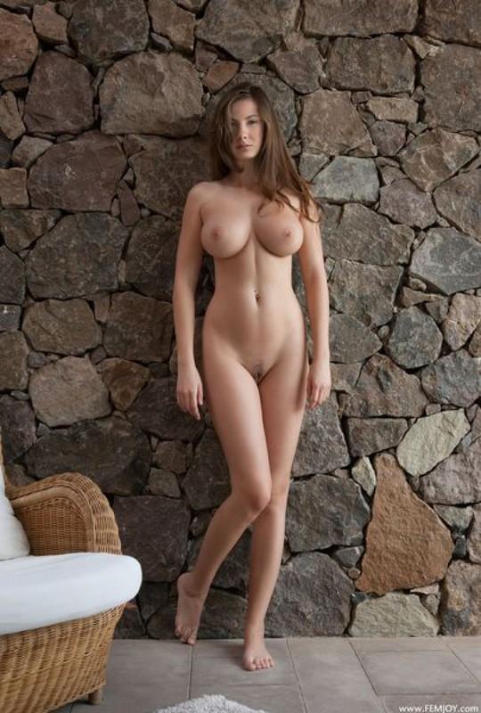 Голая Жозефина стала около каменной стены