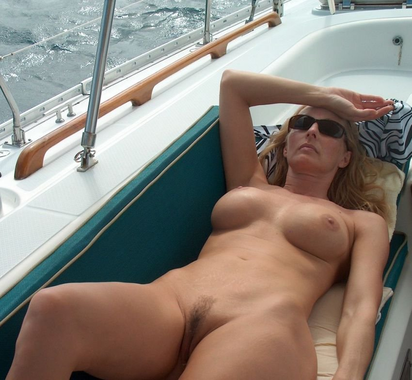 Sexy milf pussy on a boat