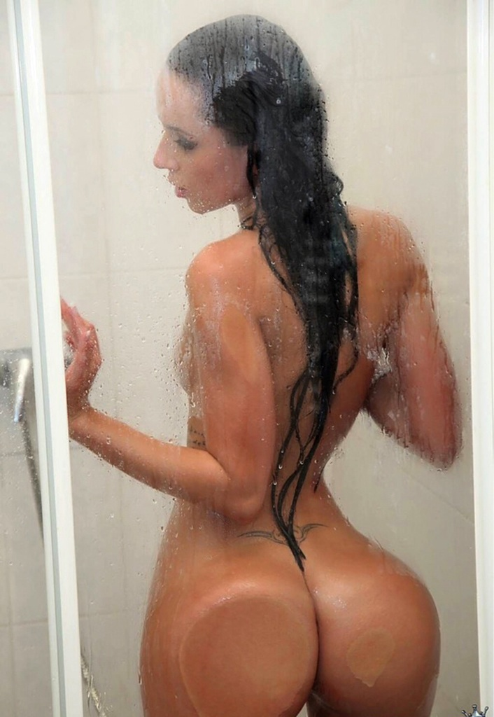 Stunning girlfriend showing off perfect ass in shower