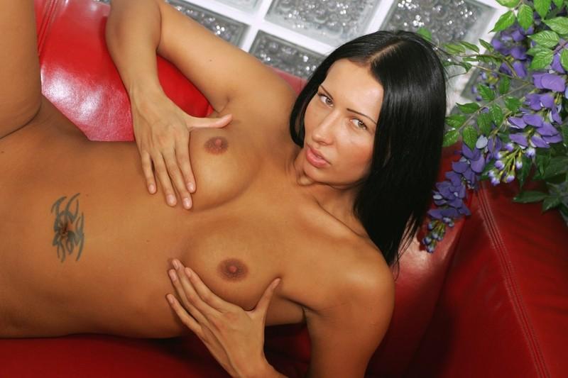 Смуглая брюнетка на красном диване сняла с себя все смотреть эротику
