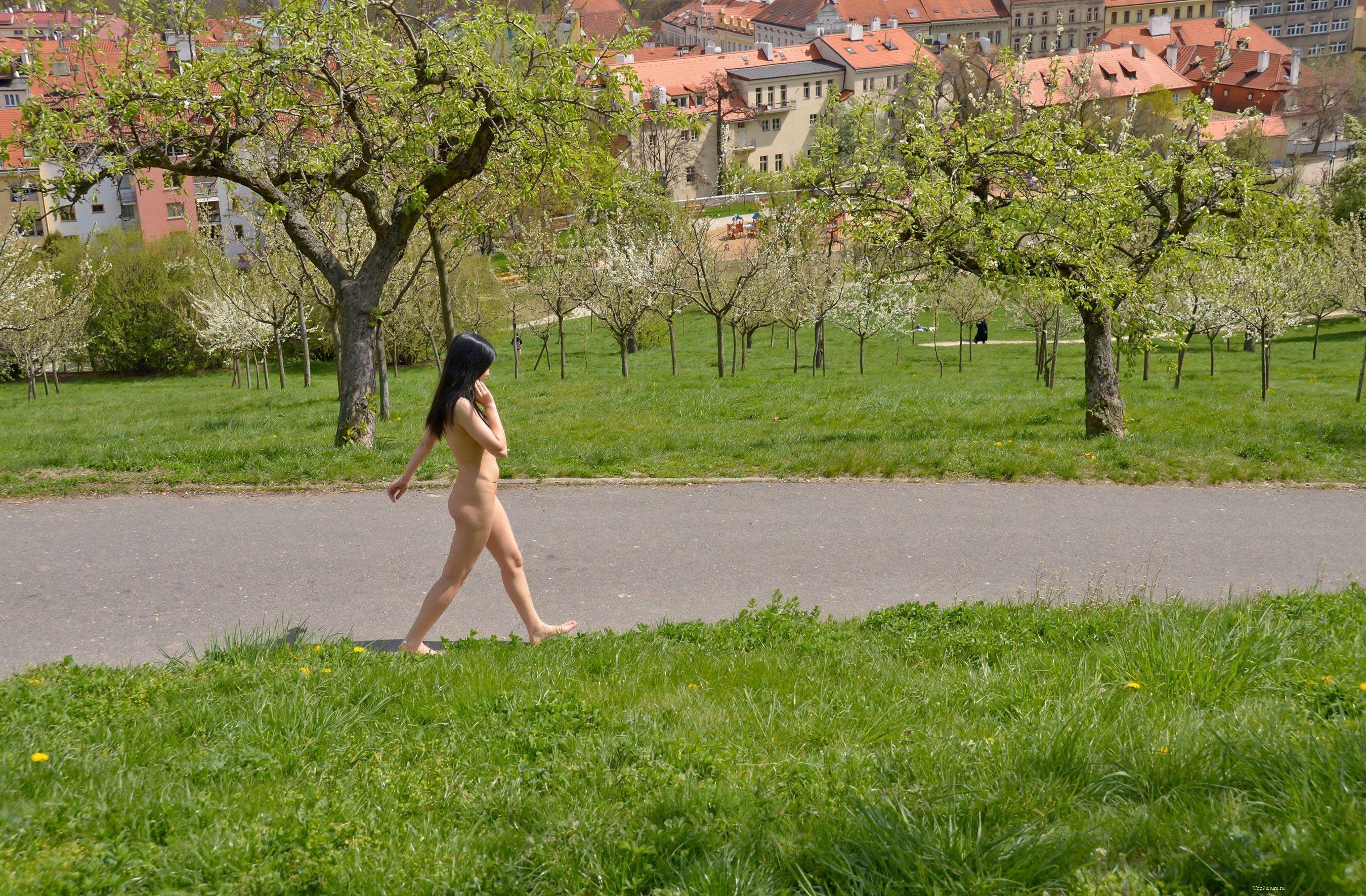 Русая порноактрисса в чем мать родила красуется на природе где ходят люди