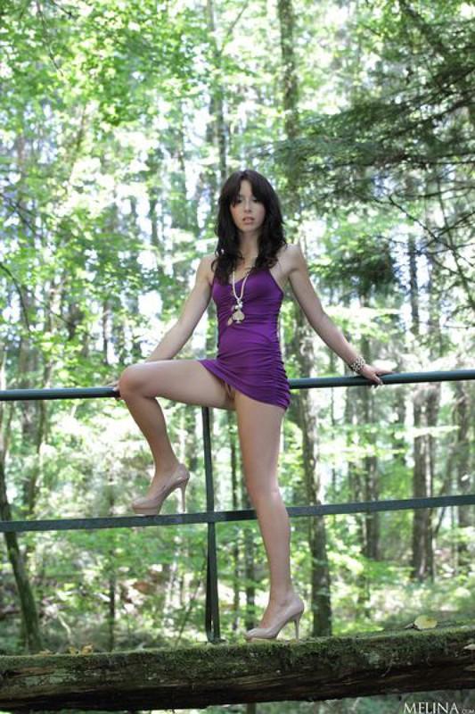 Откровенная худышка показывает интимные места на мостике в лесу
