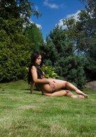 Длинноволосая брюнетка сняла розовые трусики и легла на зеленый газон 13 фотография